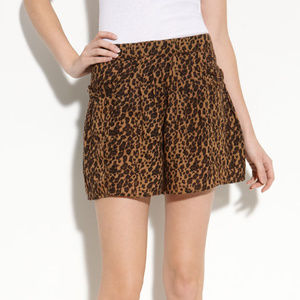Free People Leopard Animal Print Flowy Shorts S